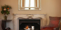 Fireplace wide with mirror LR